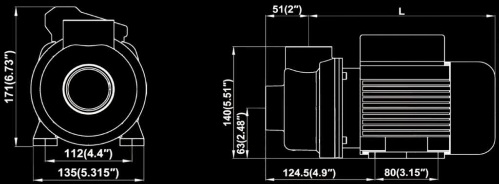 mini pump dimension