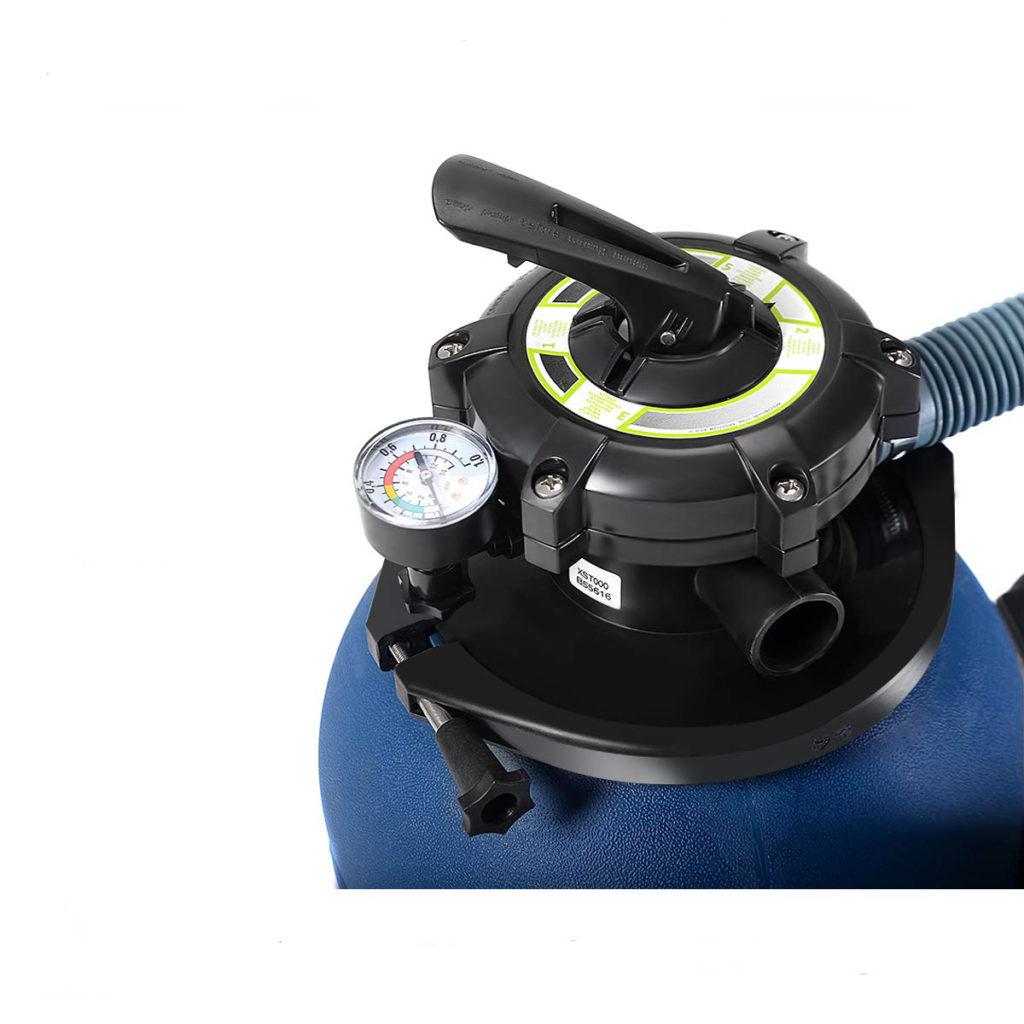 5-way valve on the blue sand filter tank