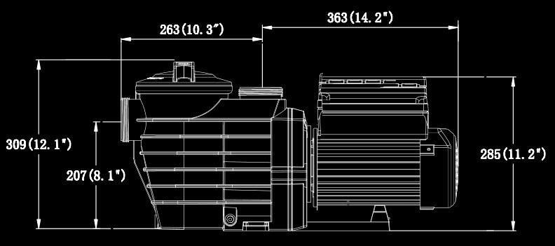 Super flow variable speed pump dimension