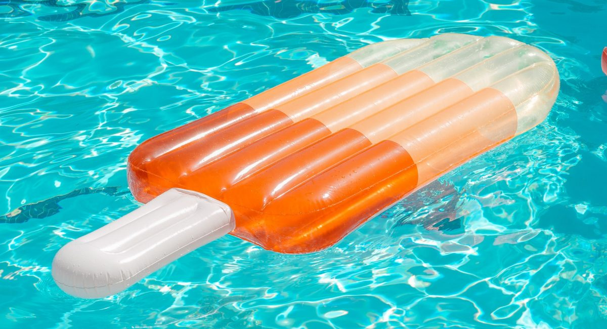 swimming pool with inflatable float